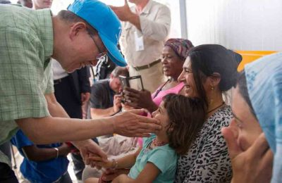 United Nations Secretary-General Ban Ki-moon visits the Kara Tepe refugee camp on the Greek island of Lesbos on June 18. UN Photo/Rick Bajornas