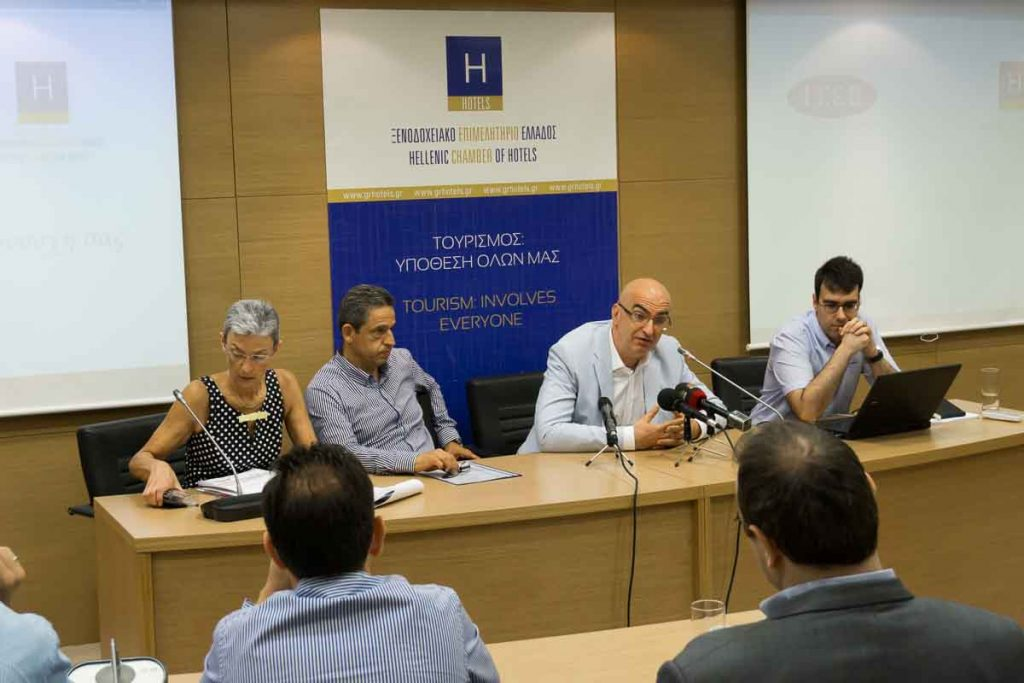 The president of the Hellenic Chamber of Hotels, Yiorgos Tsakiris, speaking to journalists during the presentation of ITEP's study on developments in the Greek hotel industry.