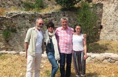 Lesvos Mayor Spyros Galinos (second right) with