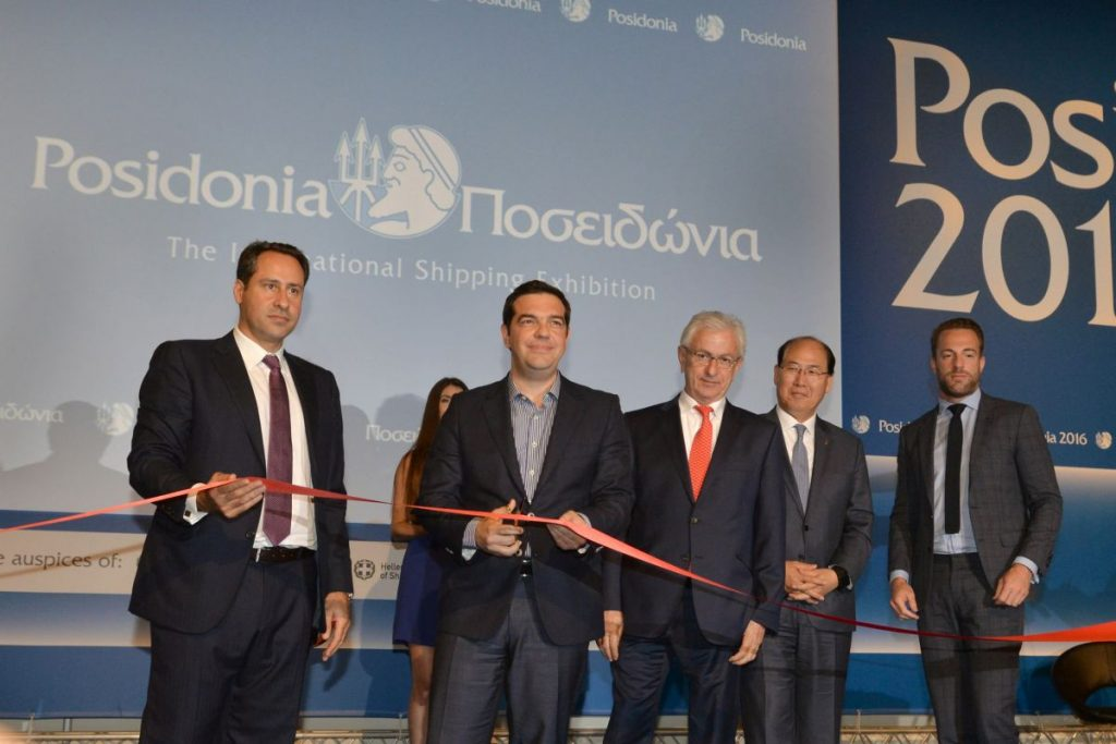 Greek Prime Minister Alexis Tsipras cutting the ribbon of Posidonia 2016.
