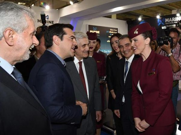 At the opening ceremony of Posidonia 2016 on Monday, Greece's Prime Minister Alexis Tsipras, accompanied by the Greek Minister of Ministry of Shipping & Island Policy Theodoros Dritsas and the Posidonia Exhibitions Chairman Themistocles Vokos, visited were welcomed by Qatar Airways Cabin Crew with the traditional Arabian delights.