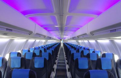 LOT Boeing 737-400, modernized cabin.