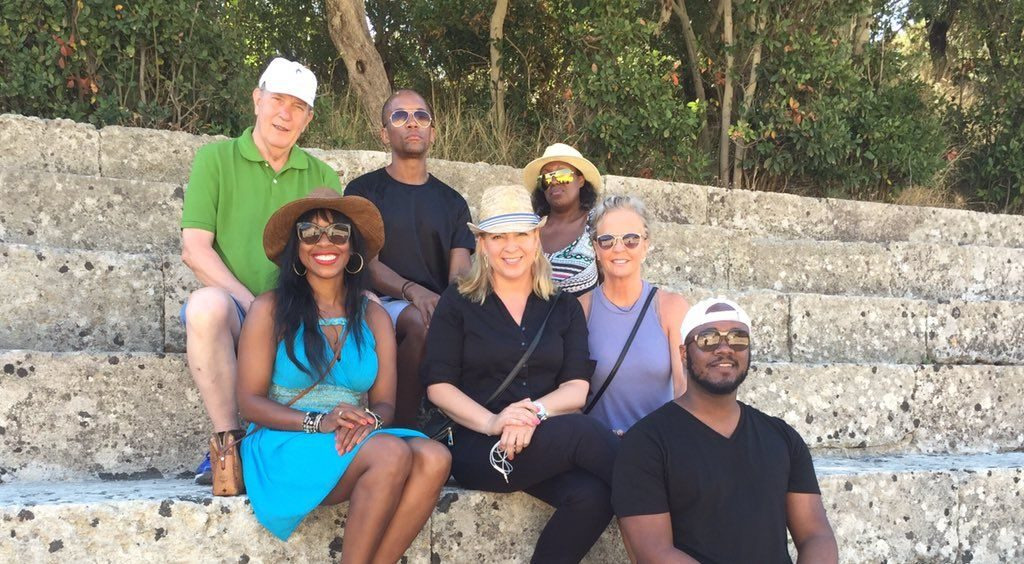 Gregoria Kamaterou from the GNTO office in New York (center) with Jan Eckland (travelrave.me), Sheryl Wesley (Message Magazine), Isoul Harris (Uptown Magazine), David Stone (Roosevelt Island Daily), Daniel Watson (Livid Magazine) and Kinya Claireborne (Lifestyle & Society).