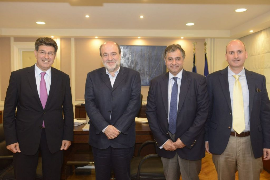 Alternate Finance Minister Tryfon Alexiadis (second left) with representatives of the Greek Tourism Confederation (SETE), the Hellenic Federation of Enterprises (SEV) and the Hellenic Confederation of Commerce and Entrepreneurship (ESEE). SETE was represented by general manager, Giorgos Amvrazis (right).