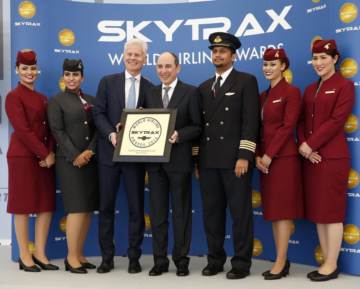Lord Paul Deighton, Chairman of Heathrow Airport presents Qatar Airways Group Chief Executive, His Excellency Mr. Akbar Al Baker with the World's Best Business Class accolade.