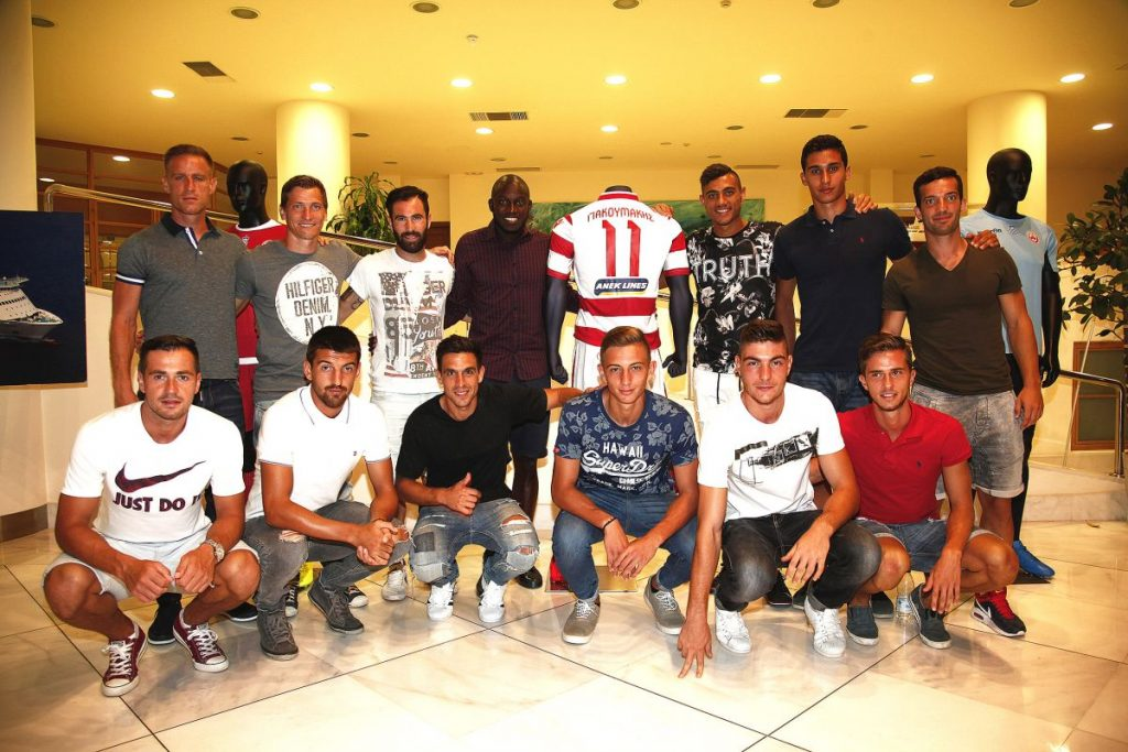 Players of Platanias team with their new uniforms.