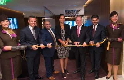 Etihad and Los Angeles Airport officials inaugurate the new lounge.