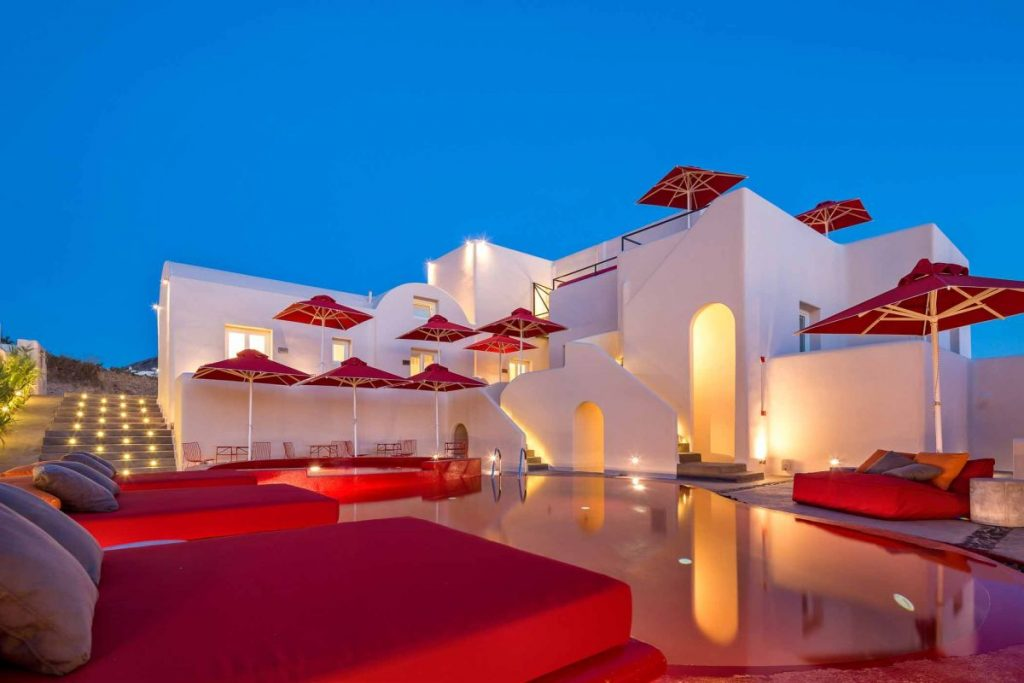 Exterior view of the Art Hotel Santorini. Photo by Christos Drazos