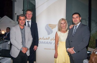 Goldair Group CEO Kostas Tsovilis, Oman Air Regional Vice President Europe Rogier de Jager, Goldair Group Commercial manager Mary Grigoriadou and Oman Air Manager Pan European & Offline Sales Mourad Aoulad El Haj.