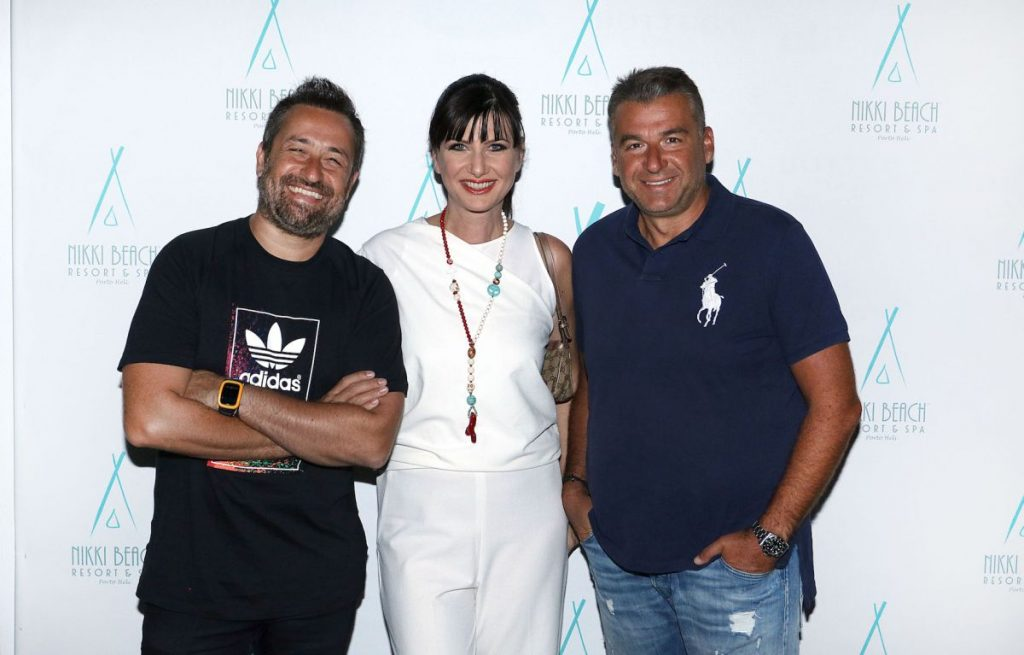 DJ Themis Georgantas (left) hit the decks for Nikki Beach's last Greek Party of the season. Renowned Greek journalist Yiorgos Liagas (right) was among the hotel's special guests.