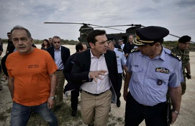 Greek Prime Minister Alexis Tsipras on Thasos. Photo source: @PrimeministerGR