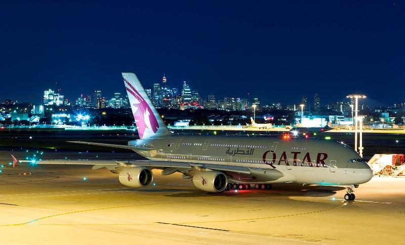 Qatar Airways A380 aircraft makes its Australian debut in Sydney.