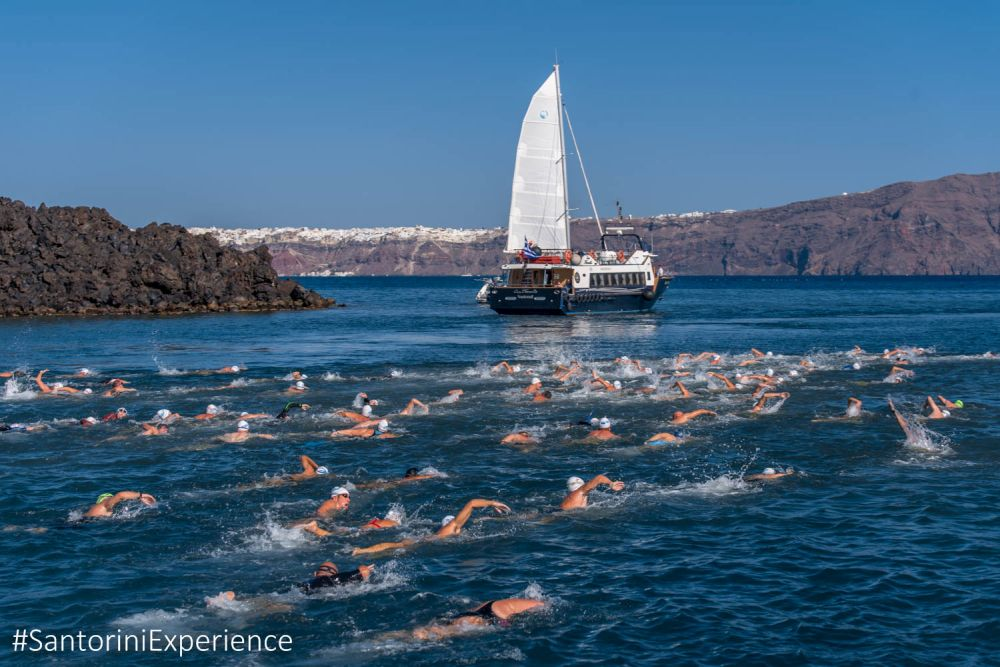 Unique image from the start of the swimming participants in Santorini Experience 2016 Photo © Elias Lefas