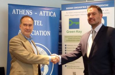 Hellenic Society for the Protection of Nature President Nikos Petrou and Athens - Attica & Argosaronic Hotel Association President Alexandros Vassilikos.