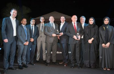 Ricky Thirion, Etihad Aviation Group Treasurer (pictured fifth left), with members of his treasury team after winning honours at the 2016 Middle East, African & Islamic Finance Aviation 100 Awards held in Dubai.