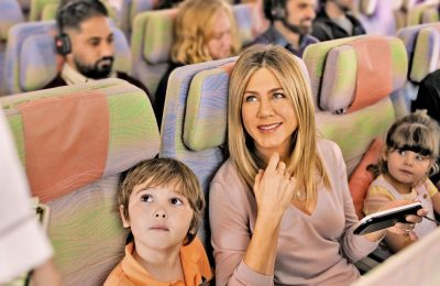 Jennifer Aniston and her young co-star Cooper onboard the A380 in the new Emirates TVC.
