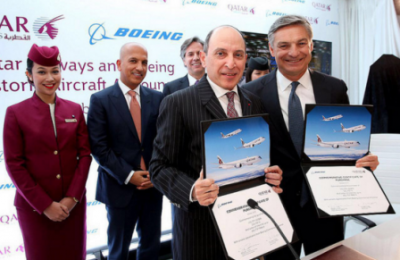 Qatar Airways Group Chief Executive Akbar Al Baker and Boeing Commercial Airplanes President and CEO Ray Conner.