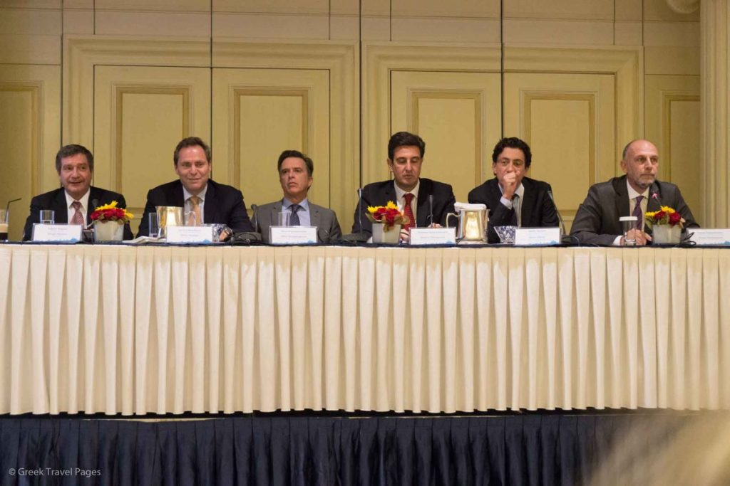 Travel Trade Athens post-event press conference. From left: Athens Mayor Giorgos Kaminis, Aegean Airlines Vice President Eftychios Vassilakis, VISA Europe General Manager Nikos Kampanopoulos, GNTO Secretary General Dimitris Tryfonopoulos and ΕΑΤΑ CEO Alexis Galinos.