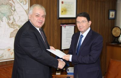 The Ambassador of Greece, Christodoulos J. Lazaris and UNWTO Secretary-General, Taleb Rifai.
