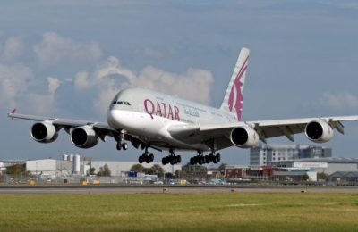 Qatar Airways, A380 aircraft.