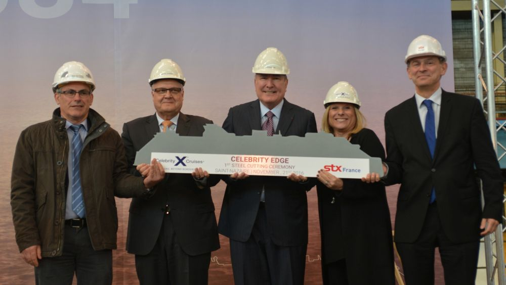 President and CEO Lisa Lutoff-Perlo (second right) cuts the first piece of steel for Celebrity Edge, the first ship of its class. She is joined by (from left to right) Jean-Yves Jaouen, Operations Senior Vice President, STX France; Harri Kulovaara, Executive Vice President Newbuild and Innovation, Royal Caribbean Cruises, Ltd.; Richard D. Fain, Chairman and CEO, Royal Caribbean Cruises, Ltd.; and Laurent Castaing, General Manager, STX France.