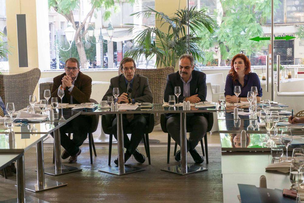 TIF-Helexpo's Andreas Daroudis, director of exhibitions; Anastasios Tzikas, president; Alexandros Tsaxirlis, deputy director general; and Katerina Traptsioni, exhibitions department.