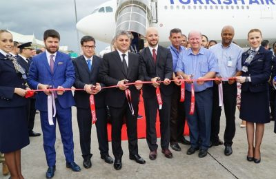 The inaugural flight from Istanbul in early November got a water cannon salute at Mahe International airport at a ceremony graced by Ahmet Olmuştur, Chief Marketing Officer of Turkish Airlines; Alain St. Ange, Minister for Tourism and Culture of the Republic of Seychelles; and Joel Morgan, Minister for Foreign Affairs and Transport of the Republic of Seychelles, in the presence of diplomatic, protocol and media representatives as well as Turkish Airlines' officials.