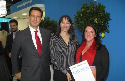 Dimitris Tryfonopoulos, GNTO Secretary General; Elena Kountoura, Tourism Minister; and Bettany Hughes, historian, author, and broadcaster.