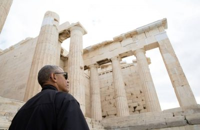 President Barack Obama takes a tour of the Acropolis in Athens, Greece, Nov. 16, 2016. Dr. Eleni Banou, Director, Ephorate of Antiquities for Athens, Ministry of Culture, leads the tour. (Official White House Photo by Pete Souza)