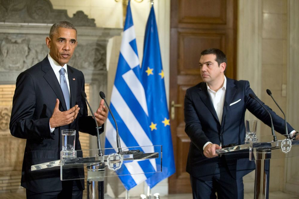 US President Obama speaking at joint press conference with Greece's PM Alexis Tsipras. Photo source: @WhiteHouse