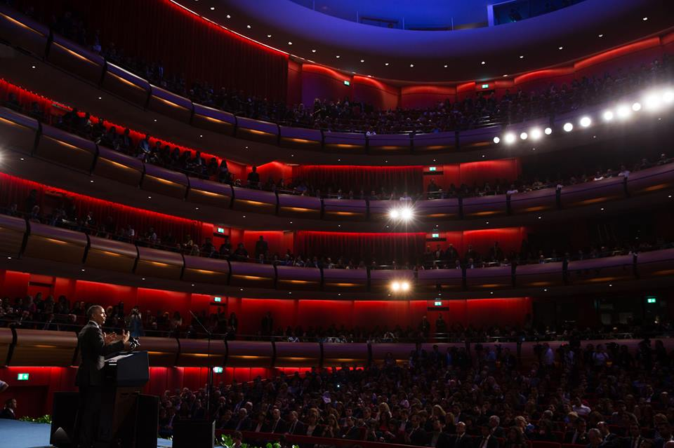 President Barack Obama concludes remarks at the Stavros Niarchos Foundation Cultural Center in Athens, Greece, Nov. 16, 2016. (Official White House Photo by Pete Souza)