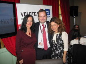 Ioanna Papadopoulou, Athens International Airport Communications & Marketing Director; Edo Friart, International Development Manager, Volotea; and Valeria Rebasti, Commercial Country Manager for Italy and Greece, Volotea.