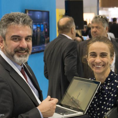 George Angelis, Athens Convention & Visitors Bureau (ACVB) press officer and DK Associate's Katilena Alpe.