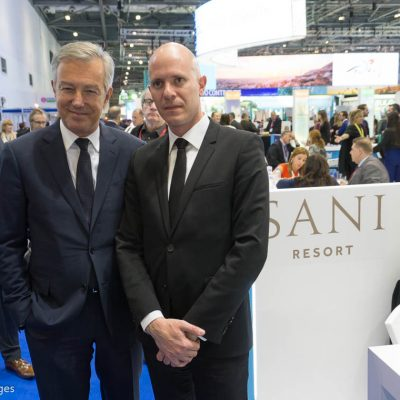 CEO of the Sani Resort in Halkidiki and president of the Greek Tourism Confederation (SETE), Andreas Andreadis (left).