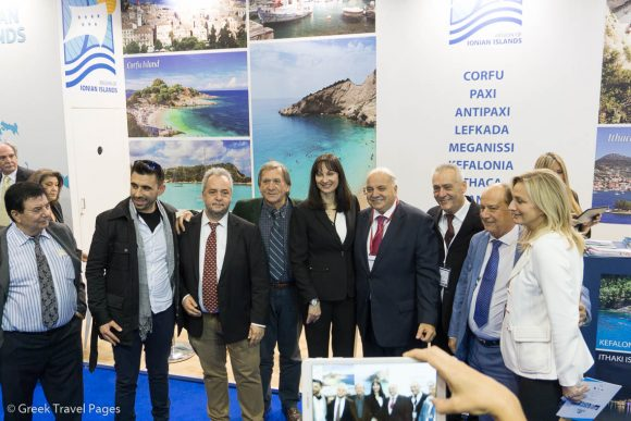 Tourism Minister Elena Kountoura at the Ionian Islands stand with the Vice Governor of Tourism and Promotion for the Ionian Islands Region, Spiros Galiatsatos.