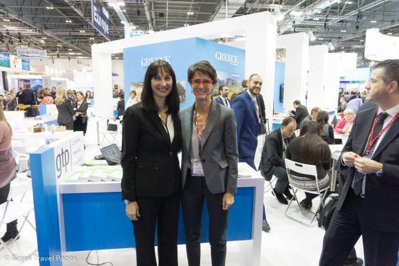 Tourism Minister Elena Kountoura and GTP's Publisher Maria Theofanopoulou.
