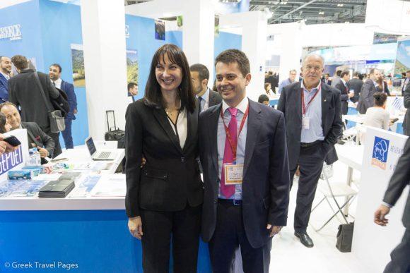Tourism Minister Elena Kountoura and Kentavros Tours President & CEO Marios Trivizas.
