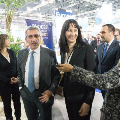 WTM London Elena Kountoura Minister of Tourism and George Hadjimarkos Governor of South Aegean Region