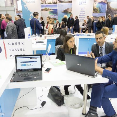 GTA's Market Manager Greece Samantha Mardkhah at GTP's stand.