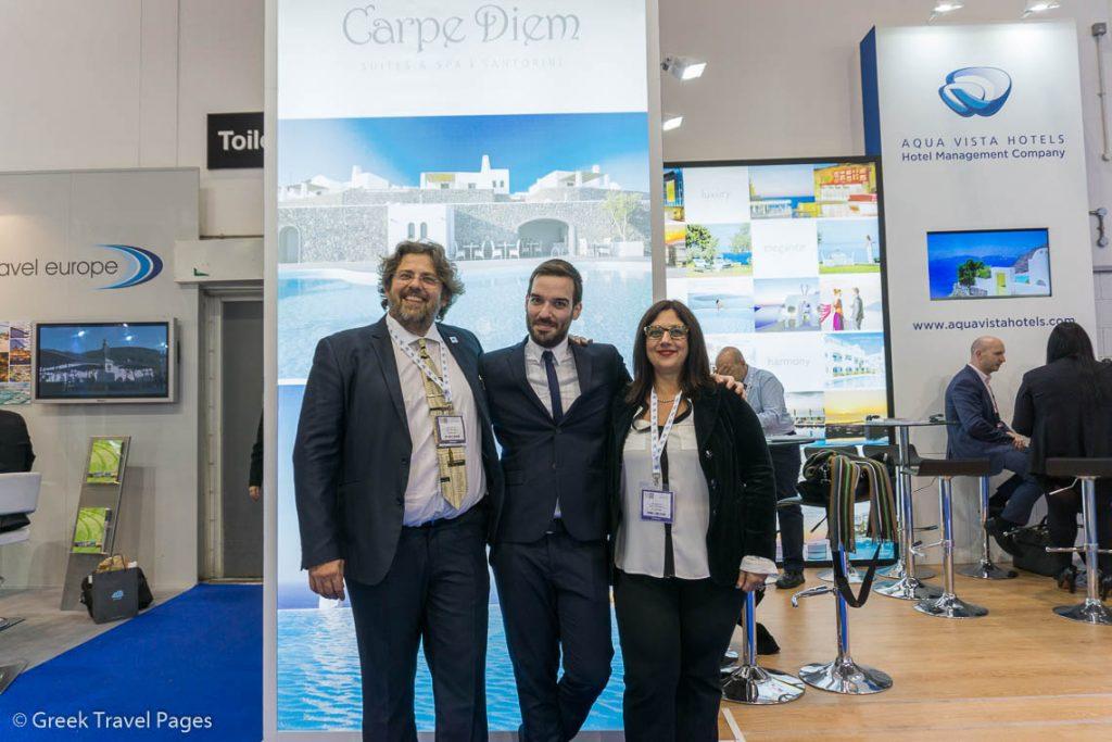 WTM 2016 - George Grafakos, Aqua Vista Hotels CEO; Sotiris Kopatsaris, Carpe Diem Suites and Spa Deputy Managing Director and Partner; and Sofia Matzourani, Aqua Vista Hotels Business Development Executive.
