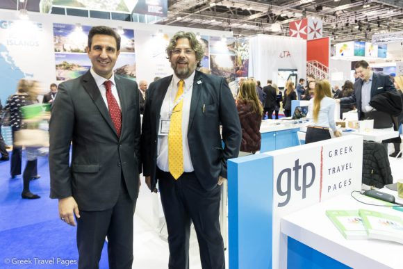 Dimitris Tryfonopoulos, President of the Greek National Tourism Organization and Aqua Vista Hotels CEO George Grafakos.