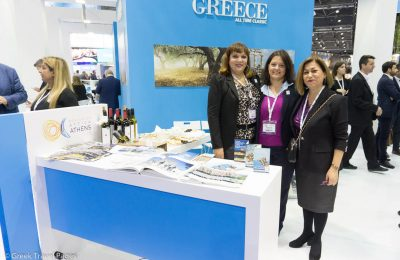 Region of Attica's Athina Kolyva, Directorate of Tourism; Myrto Momferatou, executive employeee; and Eleni Dimopoulou, Associate Regional Director for tourism promotion.
