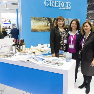 Region of Attica's Athina Kolyva, Directorate of Tourism; Myrto Momferatou, executive employeee; and Eleni Dimopoulou, Associate Regional Director for tourism promotion.