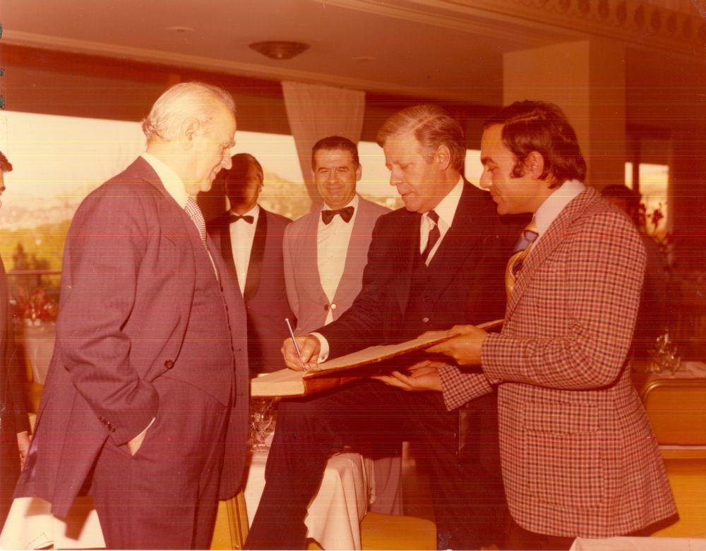 Konstantinos Karamanlis and Helmud Schmid.