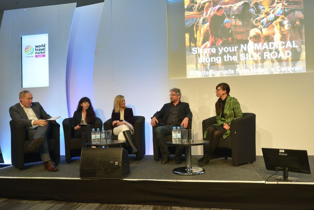 World Travel Market 2016, ExCeL, London - #SilkRoadNow: Sharing the Experience! Left to right panel discussion Mark Frary - Travel Perspective, Altona Struss - As-Sai Travel, Polytimi Vrachati - Greek Nation Tourism Org, Christoph Saunter and Christine Papadopoulos -Nomadically.org