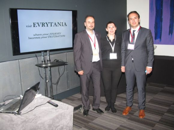 Aristidis Tasios, Deputy Head of the Region of Central Greece (Regional Division of Evrytania);΄Sofia Flega, secretary of the Evrytania Hoteliers Association and member of the Karpenisi Tourism Committee; and Ioannis Kontzias, Deputy Governor of the Region of Central Greece, responsible for tourism, sports and culture.