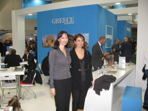 Tourism Minister Elena Kountoura and Greek soprano Anastasia Zanni.