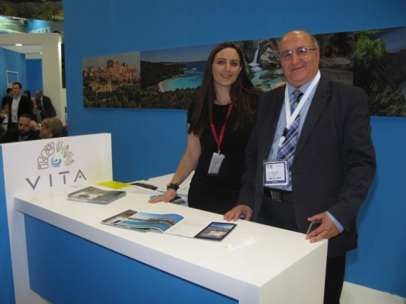 VITA Hotels' Jessica Kedzia, Senior Marketing Associate; and Nikos Kontakis, Chief Commercial Officer.