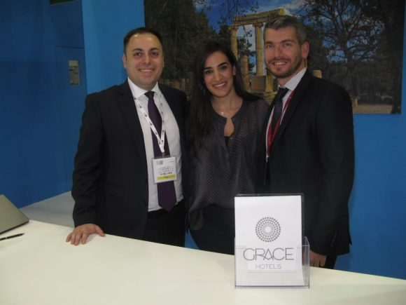 Andreas Zografos, Grace Hotels Director of Information Technology; Danai Passa, Grace Hotels Sales Executive; and George Avgoustis, Grace Mykonos Reservations Manager.