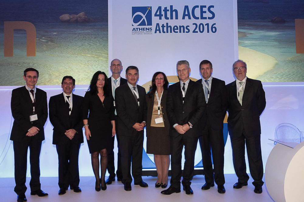 From left: Ignacio Biosca Vancells, Head of Airport Marketing & Relations with Airlines, AENA; Andreas Stylianopoulos, President & CEO, Navigator Travel; Ioanna Papadopoulou, Director, Communications & Marketing, Athens International Airport; Alexander Zinell, CEO, Fraport Regional Airports of Greece Management Company S.A.; Thanos Pallis, Secretary General MedCruise, Ass. Prof. University of the Aegean, Co-director of PortEconomics.eu; Yiannis Paraschis, CEO, Athens International Airport; Michael Eggenschwiler, CEO, Hamburg Airport & Vice-President ADV; and Stavros Hatzakos, General Manager, Piraeus Port Authority S.A.